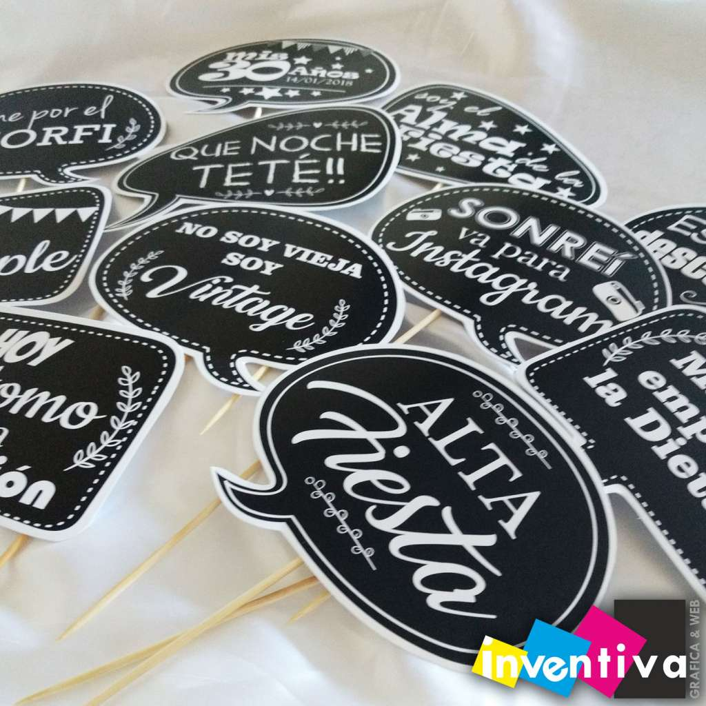 Cartelitos Props Photo Booth Personalizados
